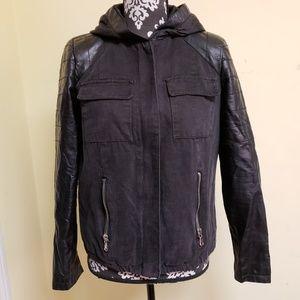 Forever 21 Vegan Leather Sleeves ZipUp Jacket sz S